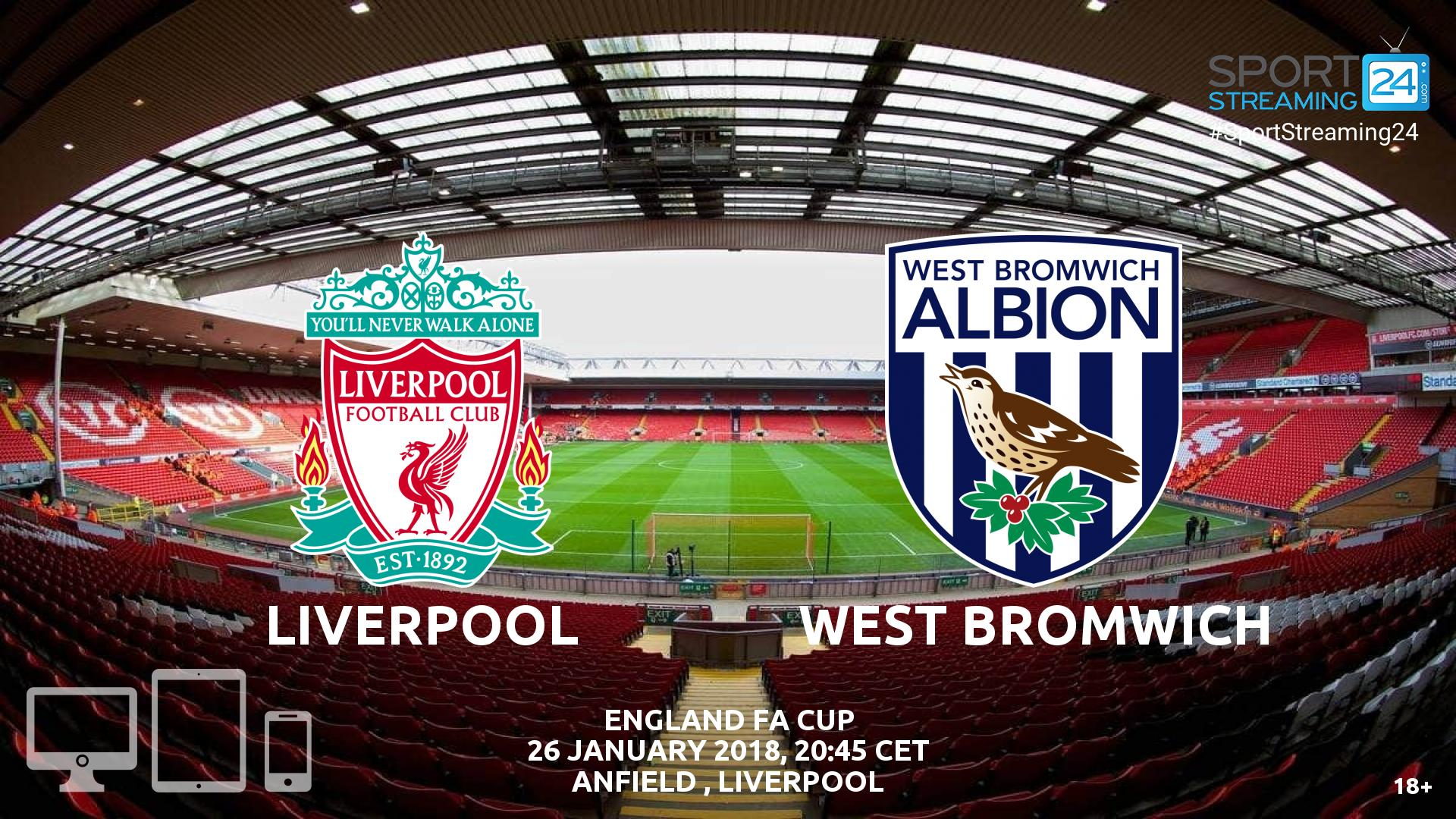 Liverpool v West Brom Live Stream FA Cup | SportStreaming24